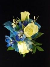 CR-1 White Spray Roses & Blue Delphinium Corsage-Wrist