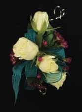 CR-2 White Spray Roses with Wire Accents Corsage-Wrist