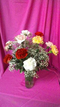 Crazy in Love Dozen Carnations with baby breath in clear cylinder vase