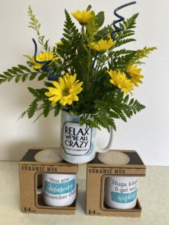 Crazy mug arrangement fresh arrangement