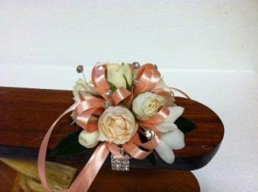 Cream and Peach corsage wrist corsage - small size