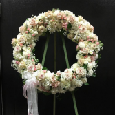 Cream and Pink Standing Wreath
