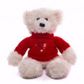 Cream Bear with Sequin Heart Sweater
