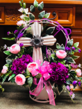 Cream Metal Cross Funeral Basket
