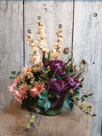 Cream, peach, and eggplant arrangement Permanent floral
