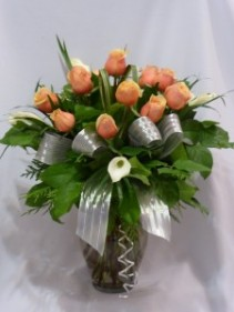 CREAM & PEACHES MY BABY-  Roses, Calla Lillies, Rose Floral Bouquets