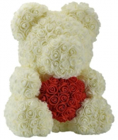 Cream Rose Bear with Red Heart