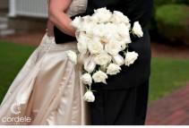 Cream Roses Cascade-Bouquet Price Range: $145 - $175
