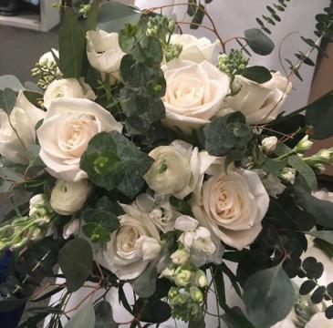 Cream, White Roses with Eucalyptus  Wedding
