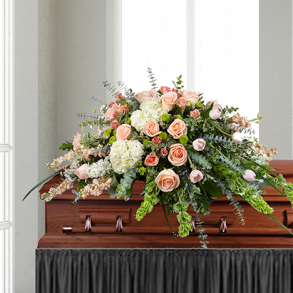 creamy pinks Casket spray