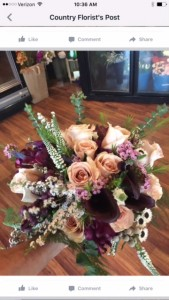 Creamy Plum bridal bouquet of roses, and lillies and monti casino
