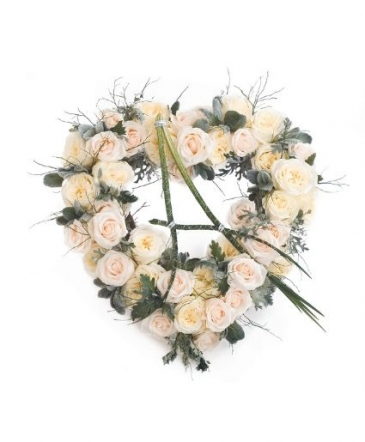 Creamy White Roses Heart Funeral