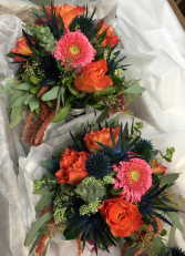 Creations Playing With Color Handtied Style Bridesmaids Bouquets