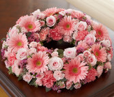 Cremation Wreath - All Pink Memorial Flowers