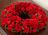Cremation Wreath - All Red Memorial Flowers