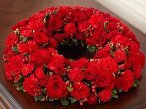 Cremation Wreath - All Red Memorial Flowers in Croton On Hudson, NY | Cooke's Little Shoppe Of Flowers