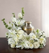 Cremation Wreath - All White Cremation Arrangement