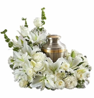 Cremation Wreath - All White Memorial