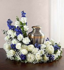 Cremation Wreath - Blue and White Cremation Arrangement