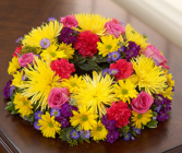 Cremation Wreath - Multicolor Bright Memorial Flowers