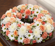 Cremation Wreath - Peach, Orange and White Memorial Flowers