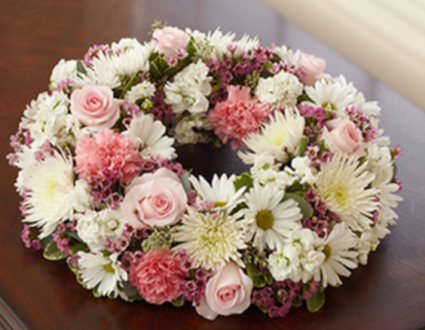 Cremation Wreath - Pink and White Memorial Flowers