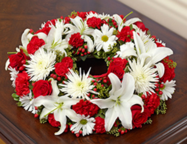 Cremation Wreath - Red and White Arrangement
