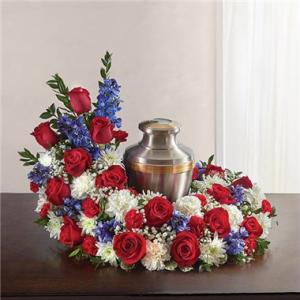 Cremation Wreath-Red, White & Blue  in Arlington, TX | Erinn's Creations Florist