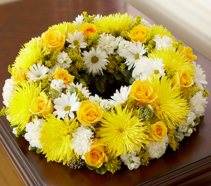 Cremation Wreath - Yellow and White Memorial Flowers