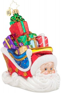 Sleighing Santa  Christopher Radko Ornament