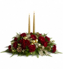Crimson and Candlelight Centerpiece