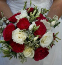 Crimson and Cream Bridal Bouquet