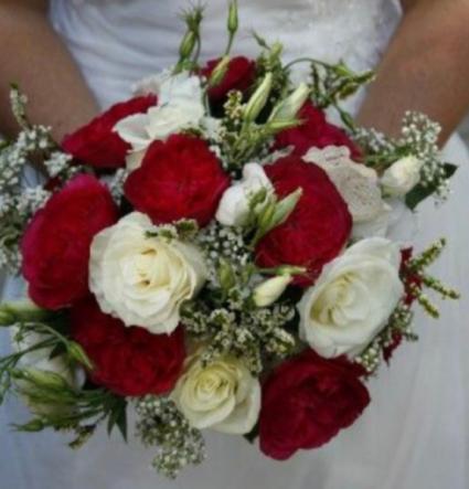 Crimson And Cream Bridal Bouquet In
