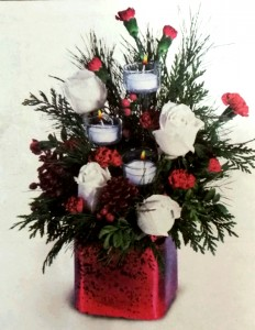 Crimson Christmas Centerpiece in Vernon, BC | SIMPLY BASKETS AND HARRIS FLOWERS