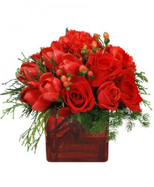CRIMSON CHRISTMAS Bouquet in Port Jefferson Station, NY | MALKMES FLORISTS & GHSES.