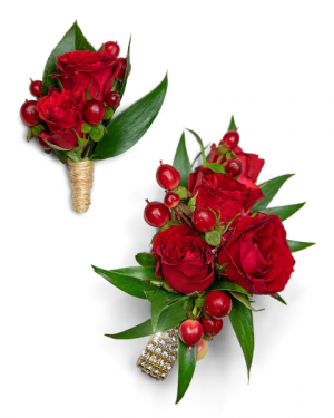Crimson Corsage and Boutonniere Set Corsage/Boutonniere in Nevada, IA | Flower Bed