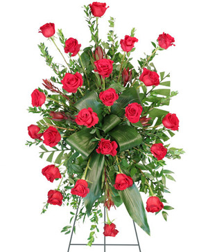 Crimson Departure Standing Spray in Burlington, NC | STAINBACK FLORIST & GIFTS