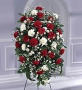 Crimson Funeral Arrangement Traditional Spray