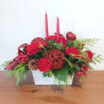 Crimson Glow Christmas Centerpiece