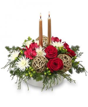 DECEMBER DAZZLER Centerpiece in Mustang, OK | MUSTANG FLOWERS & GIFTS