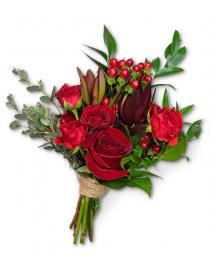 Crimson Hand-tied Bouquet Corsage/Boutonniere