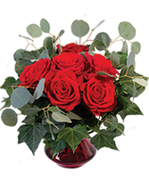 Crimson Ivy Roses Flower Arrangement in Vienna, Missouri | THE FLOWER BASKET