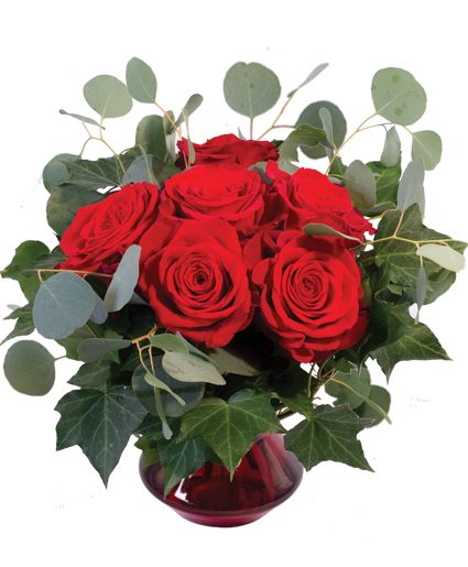 Crimson Ivy Roses Flower Arrangement