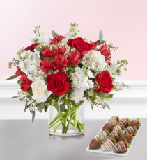 Crimson Rose™ Bouquet with Strawberries