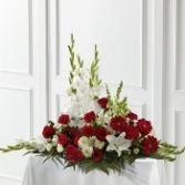 Crimson & White Arrangement Funeral Bouquet