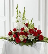Crimson & White Arrangement MIX FLOWER