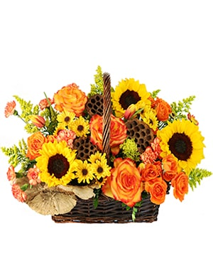 Crisp Autumn Morning Basket of Flowers in Teulon, MB | Stacey's Blossom and Boutique