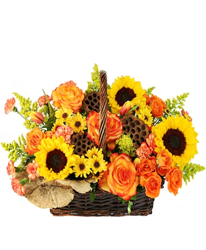 Crisp Autumn Morning Basket of Flowers