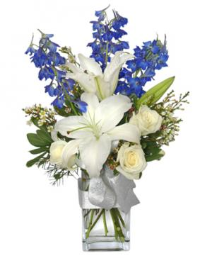 CRISP WINTER SKIES Flower Arrangement in Greenfield, IN | BEAUTIFUL BEGINNINGS FLORAL SHOP INC