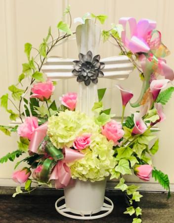 Cross Basket Funeral Basket
